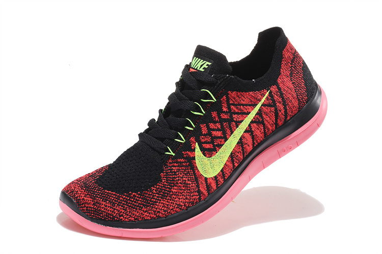 uk availability 32dd0 08824 Women Nike Free 4.0 Flyknit Black Red Pink Running Shoes