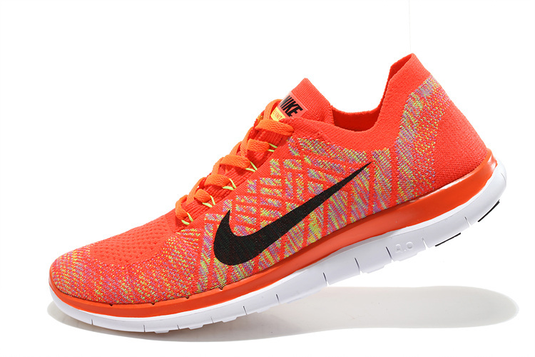 Nike Free 4.0 Flyknit Orange Black White Running Shoes