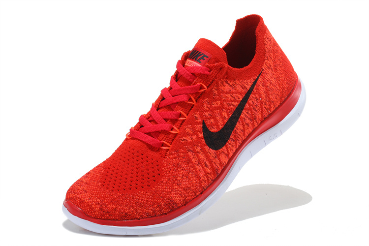 7503ad470 Nike Free 4.0 Flyknit Red Black White Running Shoes