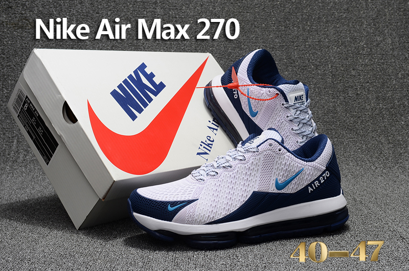 Men 2017 Nike Air Max Flair White Deep Blue Shoes