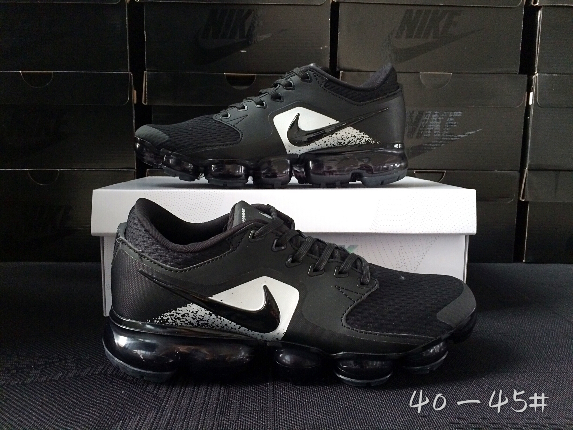 Men 2018 Nike Air Vapormax CS Black White Shoes