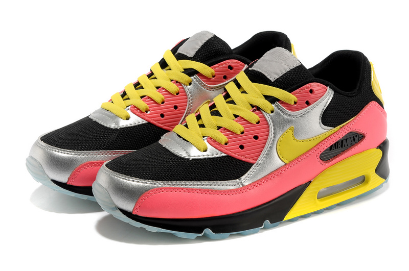 Nike Women Air Max 90 Colorful Black Silver Yellow Red Shoes