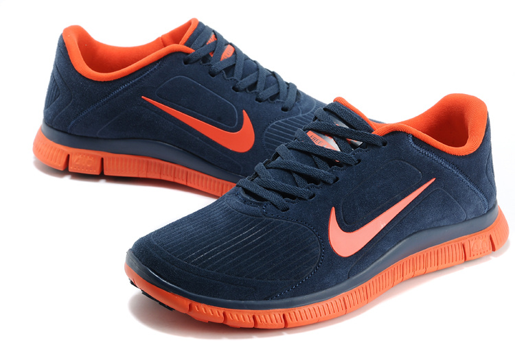 premium selection d232c 3300a Nike Free Run 5.0 Suede Dark Blue Orange Shoes