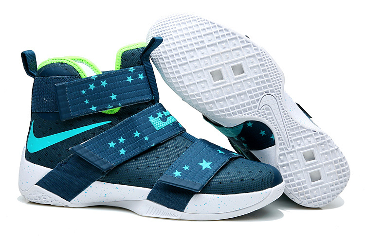 finest selection f73c5 61ef6 Men Lebron Soldier 10 Blue Green White Stars Shoes