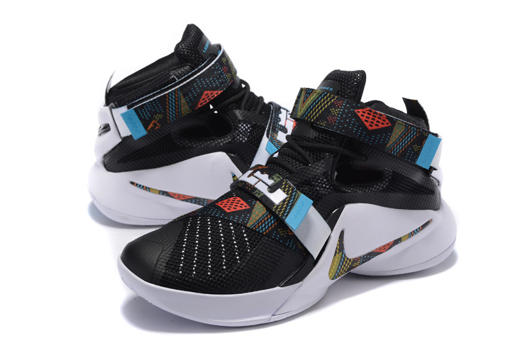 Men Lebron Soldier 9 BHM Black White Shoes