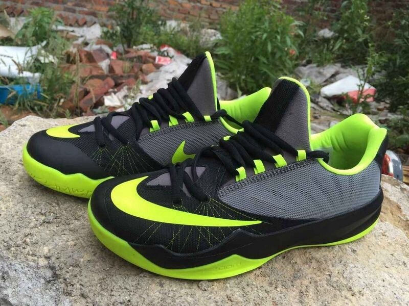 Men Nike Air Zoom The One Black Grey Green Basketball Shoes