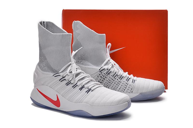 f1a4c70b591a Men Nike Hyperdunk 2016 Flyknit White Red Shoes  NBAKETBALL335 ...
