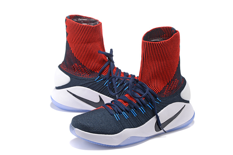 Men Nike Hyperdunk 2016 High Knit Blue Red Shoes