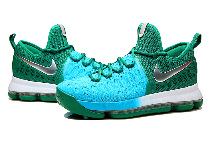 Men Nike KD 9 Blue Green Basketball Shoes