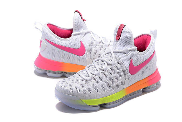 Men Nike KD 9 White Pink Basketball Shoes