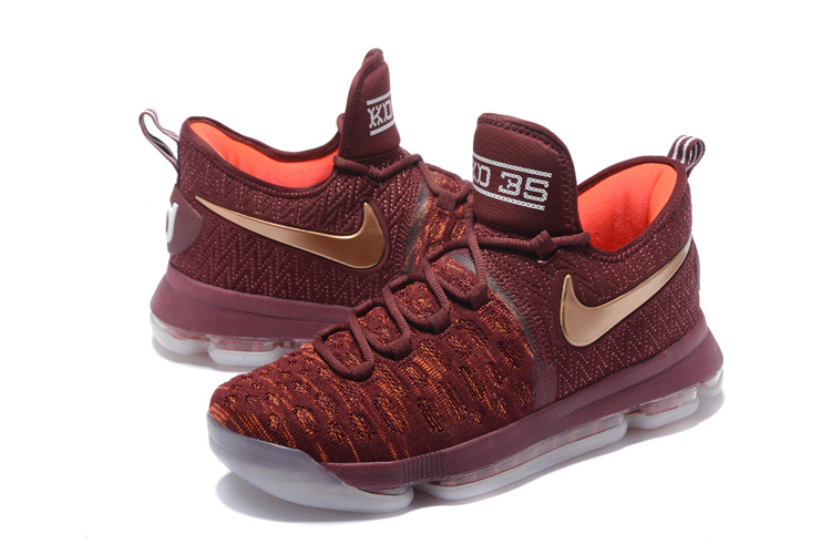 Men Nike KD 9 Wine Red Gold Shoes