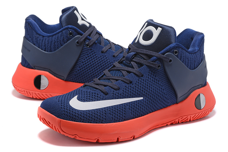 Men Nike KD Trey 5 Knit Blue Orange White Shoes