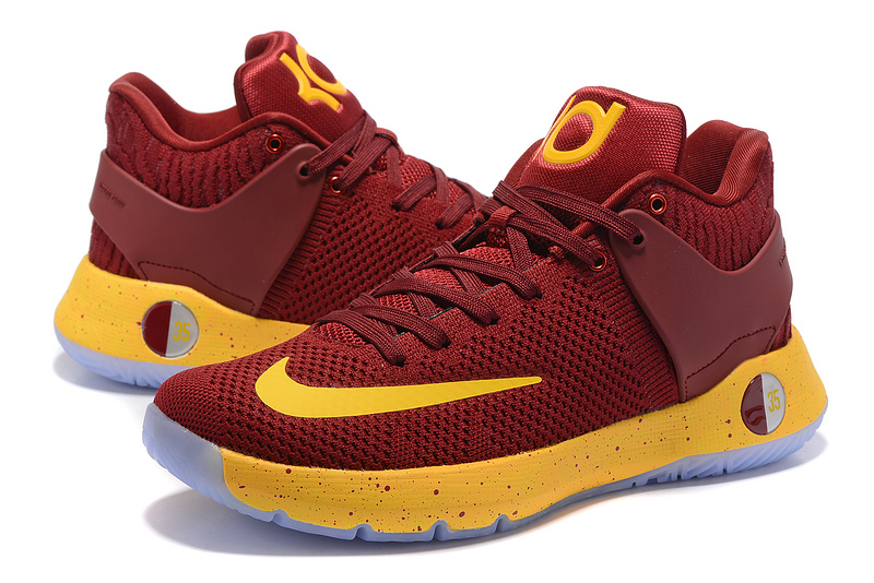 Men Nike KD Trey 5 Knit Wine Red Yellow Shoes