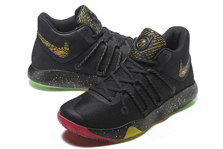 Men Nike KD Trey 6 Black Gold Rainbow Sole Shoes