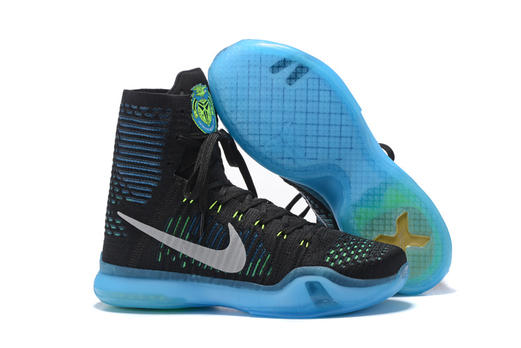 Men Nike Kobe 10 High Clerance Black Blue Shoes