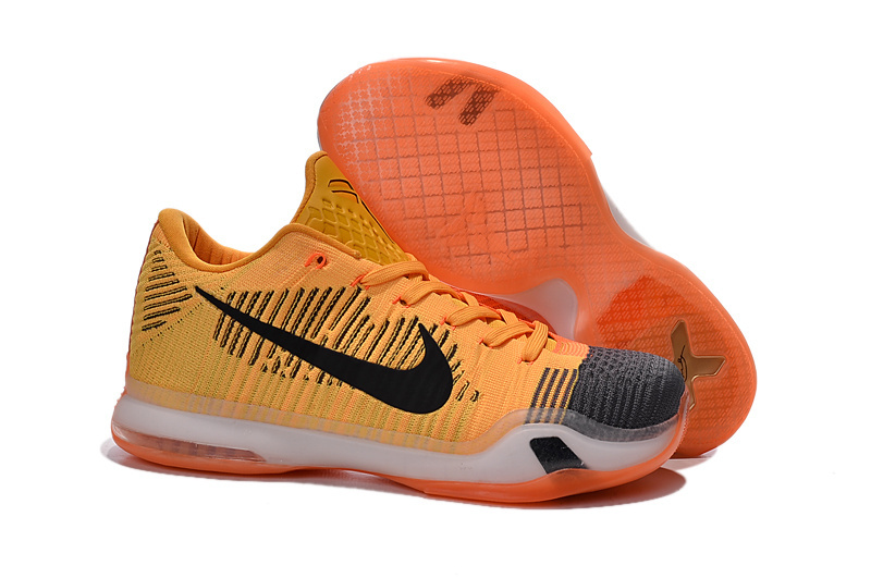 Men Nike Kobe 10 Orange Black White Basketball Shoes