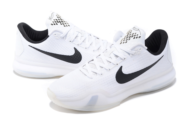 Men Nike Kobe 10 White Black Basketball Shoes