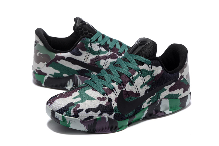Men Nike Kobe 11 Knit Camouflage Green Shoes