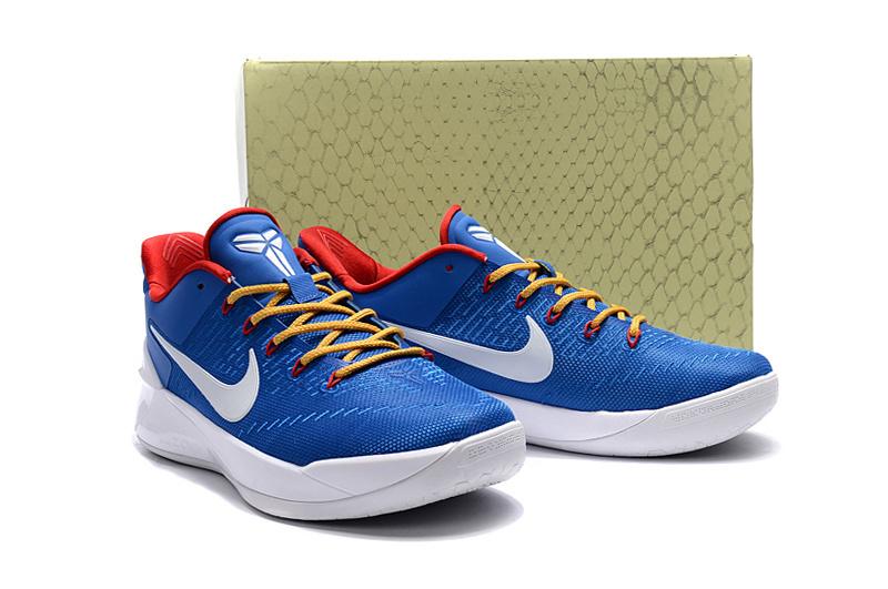 0a8fb0423db Men Nike Kobe 12 Blue Yellow Red Basketball Shoes