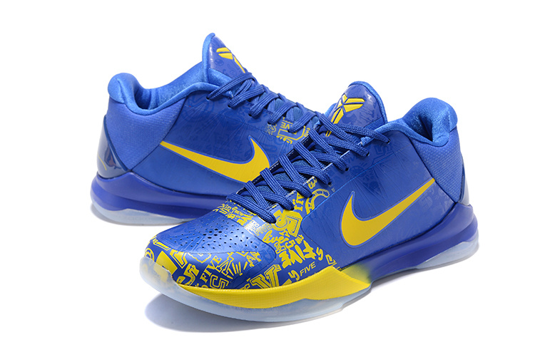 Men Nike Kobe 5 Low Blue Yellow Shoes