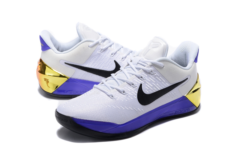 Men Nike Kobe A.D White Purple Gold Basketball Shoes
