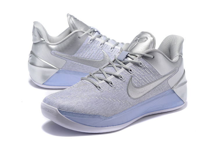 Men Nike Kobe A.D White Silver Basketball Shoes