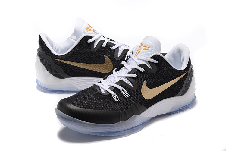 Men Nike Kobe Venomenon 5 Black Gold White Shoes