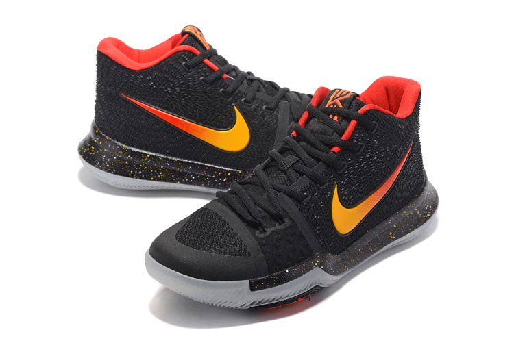 Men Nike Kyrie 3 Black Orange Red Basketball Shoes