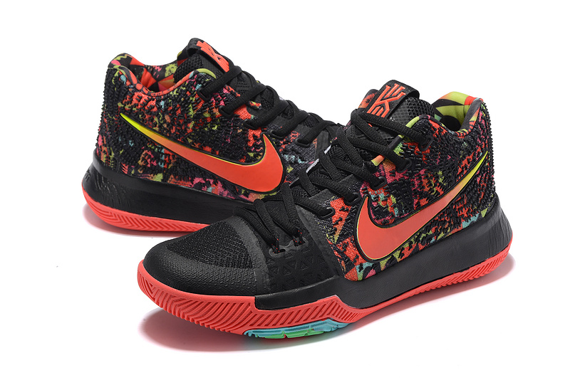 Men Nike Kyrie 3 Black Red Colorful Shoes