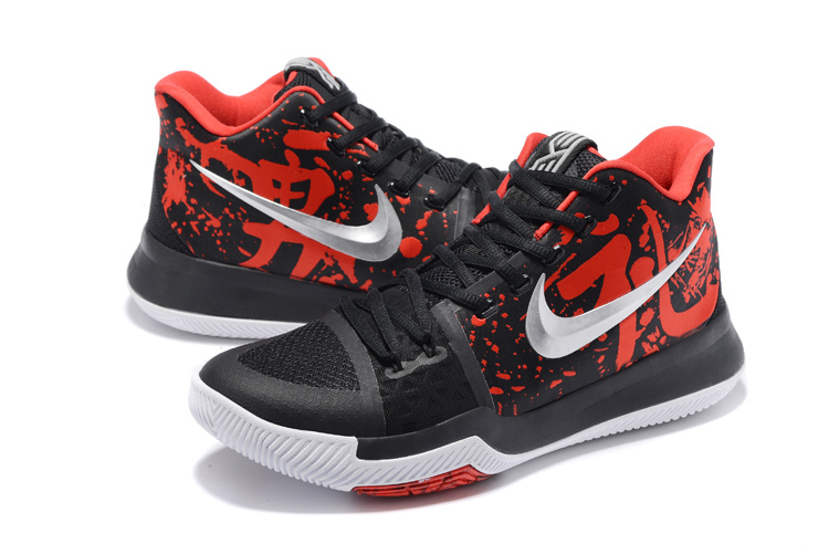Men Nike Kyrie 3 Christmas Black Red White Shoes