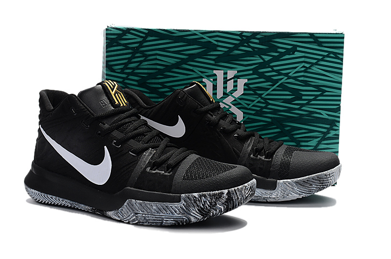 Men Nike Kyrie 3 EP Black Grey Gold Shoes