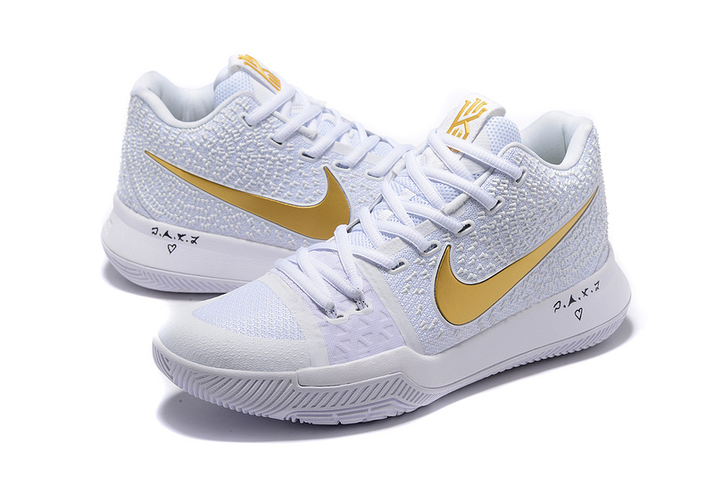 Men Nike Kyrie 3 White Gold Shoes