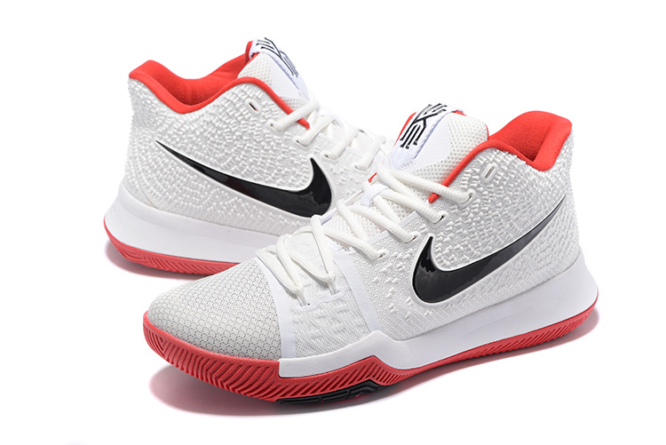 Men Nike Kyrie 3 White Red Black Shoes