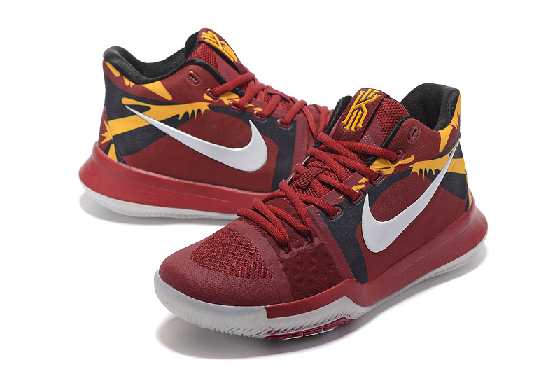Men Nike Kyrie 3 Wine Red Yellow Basketball Shoes
