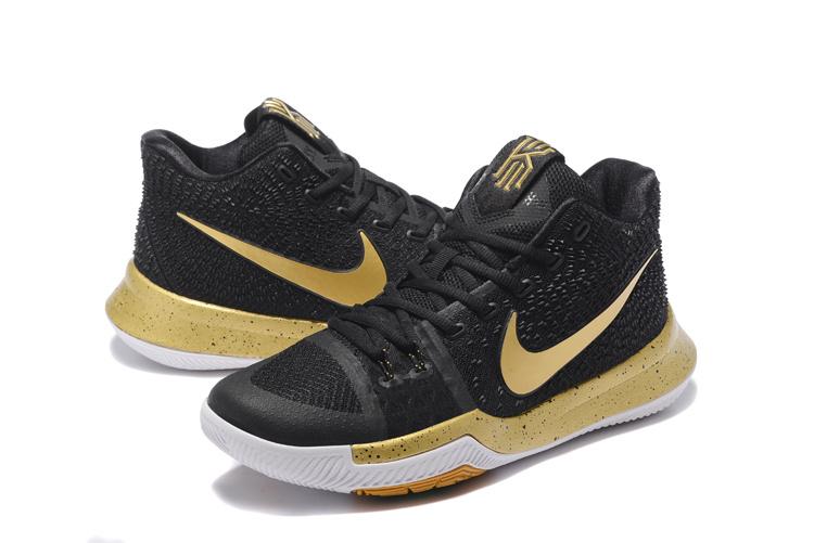 official photos 0ebea ea035 Men Nike Kyrie Irving 3 Black Gold White Shoes
