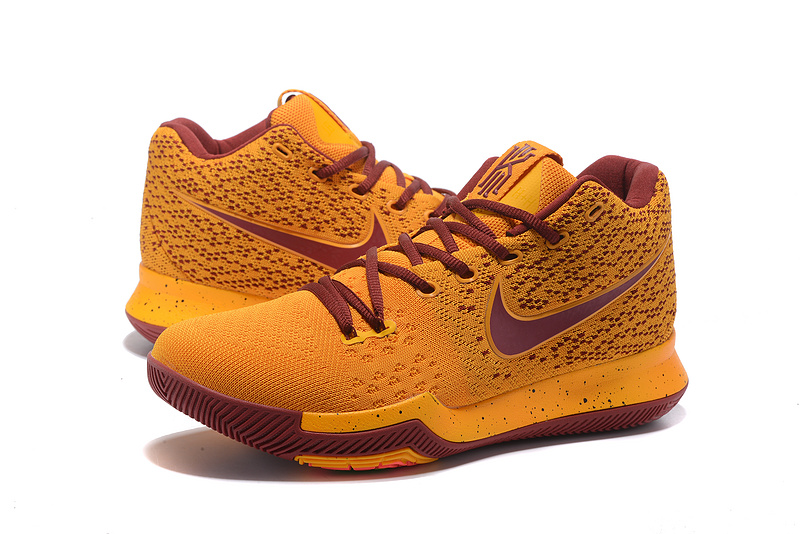 Men Nike Kyrie Irving 3 Knit Yellow Wine Red Shoes