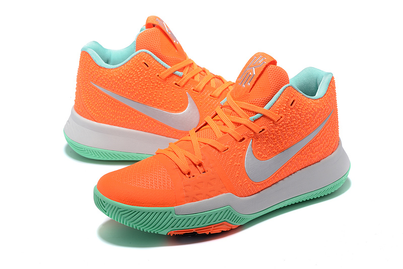 Men Nike Kyrie Irving 3 Orange Grey Green Basketball Shoes