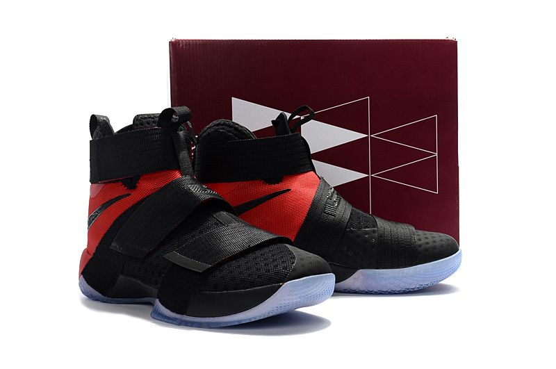 Men Nike LeBron Soldier 10 EP Black Red Basketball Shoes