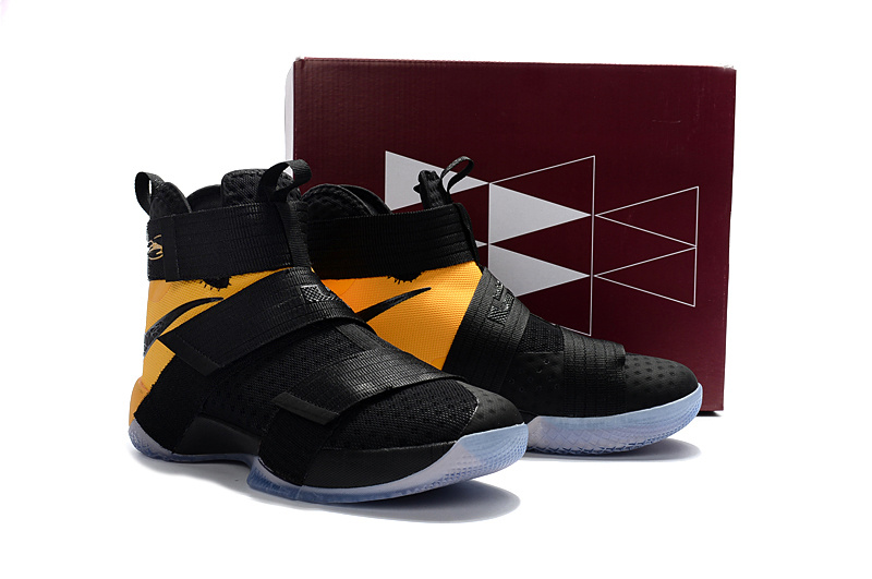 Men Nike LeBron Soldier 10 EP Black Yellow Basketball Shoes