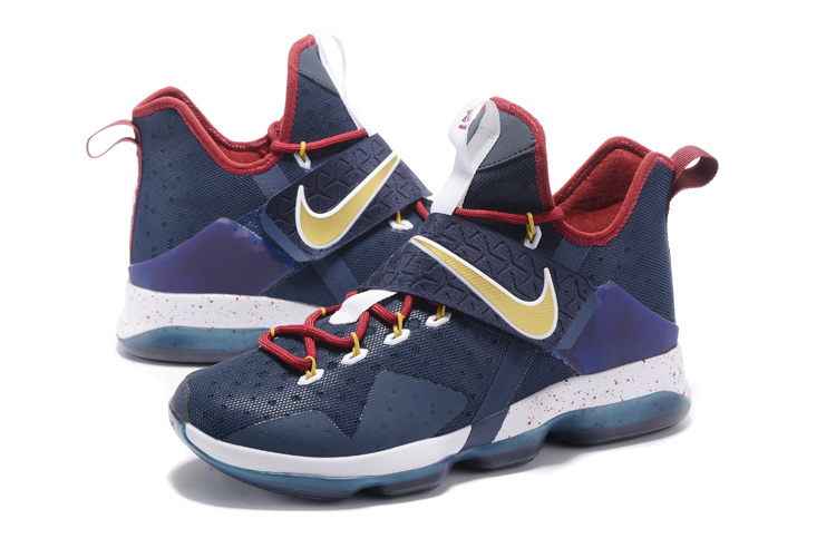 Men Nike Lebron 14 American Team Blue Gold Red Shoes