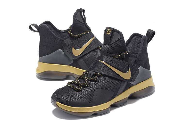 Men Nike Lebron 14 Black Gold Shoes
