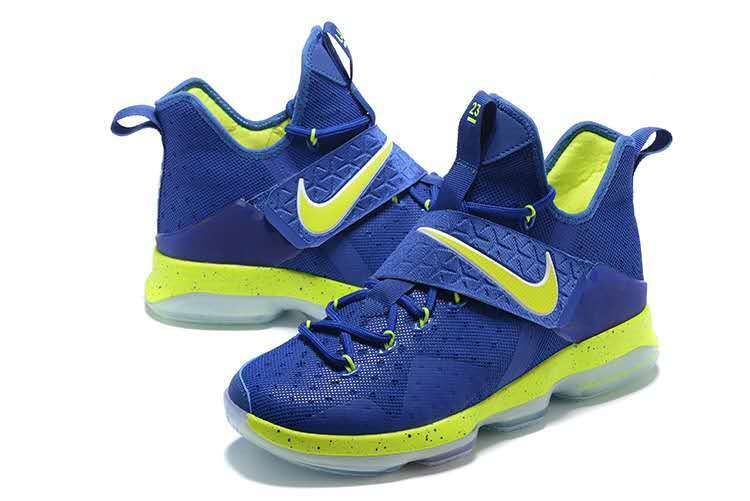 Men Nike Lebron 14 Blue Fluorscent Green Shoes
