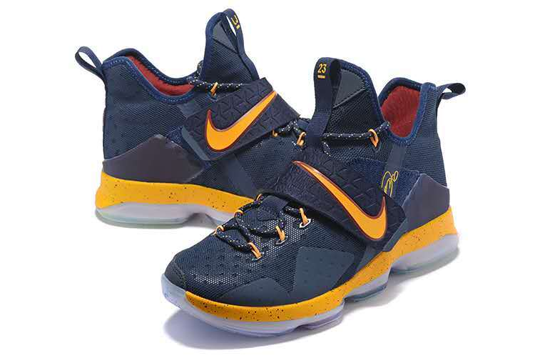 Men Nike Lebron 14 Home Court Deep Blue Yellow Shoes