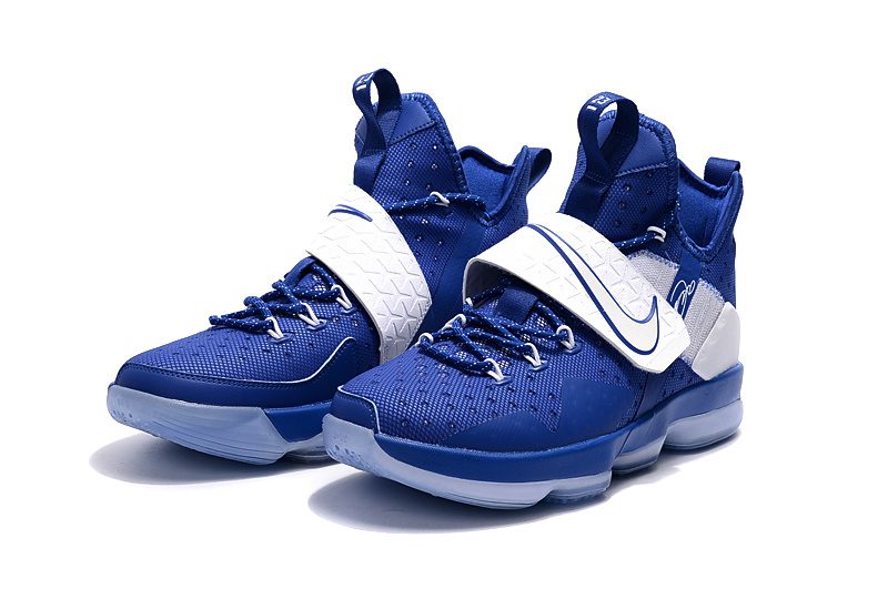Men Nike Lebron 14 Sport Blue White Basketball Shoes