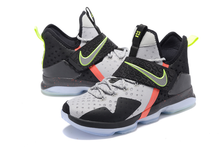 Men Nike Lebron 14 White Black Green Orange Shoes