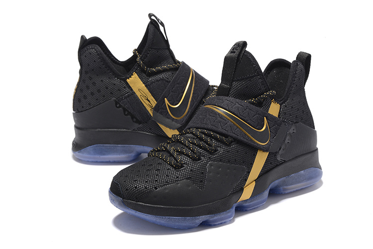 Men Nike Lebron James 14 Black Gold Shoes