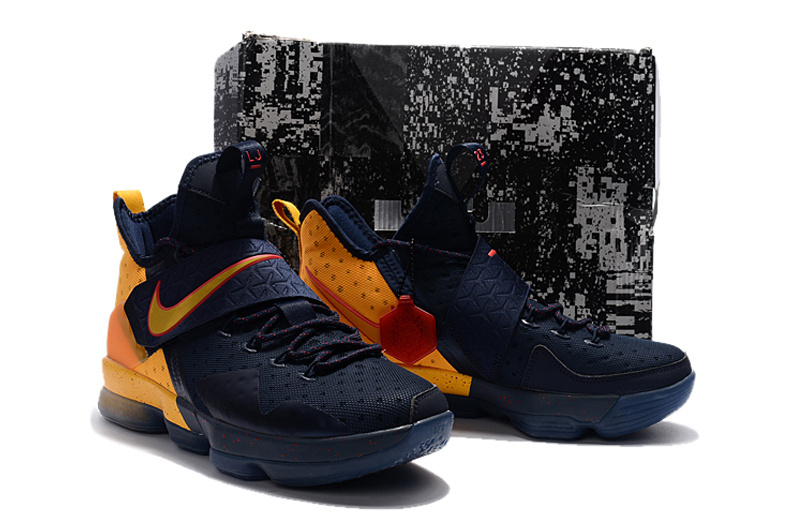 Men Nike Lebron James 14 Deep Blue Yellow Shoes