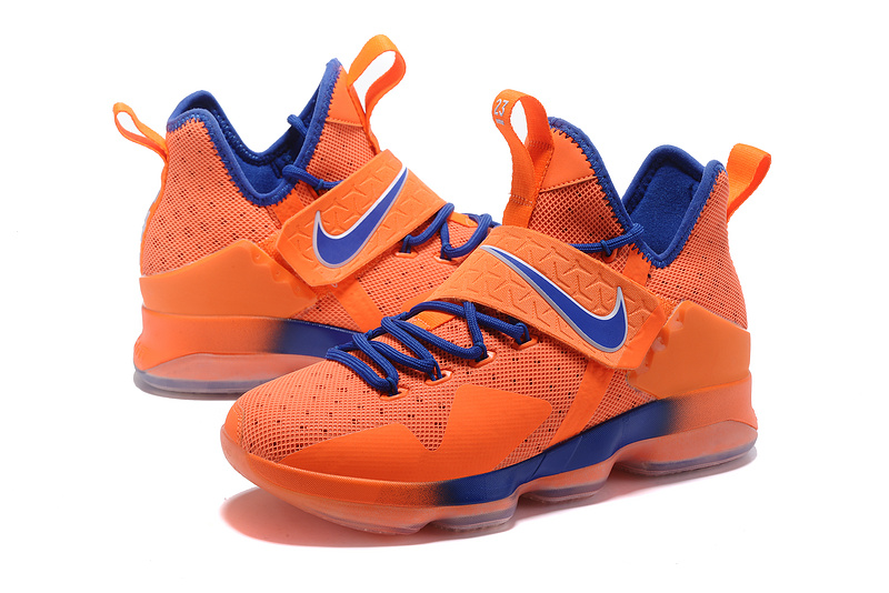 Men Nike Lebron James 14 Orange Blue Shoes