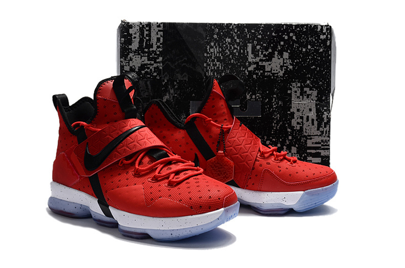 Men Nike Lebron James 14 Red Black Shoes