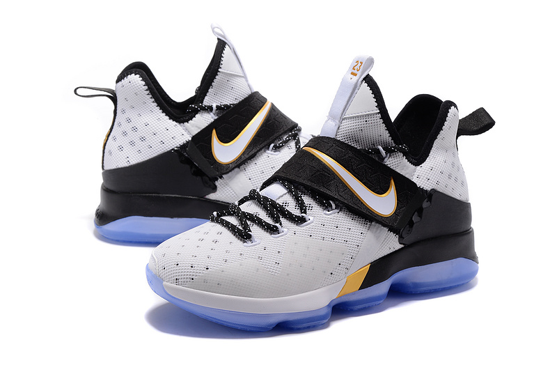Men Nike Lebron James 14 White Black Blue Shoes